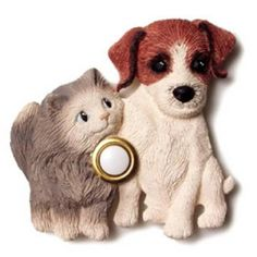 Country dog and gray cat doorbell cover.