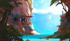 Who Buys Landscaping Rocks Fantasy Art Landscapes, Fantasy Landscape, Landscape Art, Environment Concept Art, Environment Design, Game Environment, Fantasy Concept Art, Fantasy Artwork, Fantasy Places