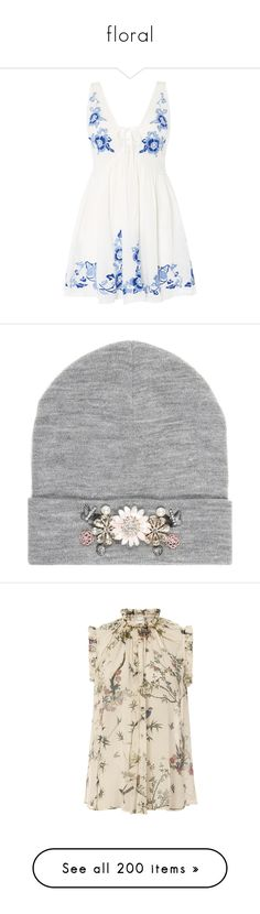 """""""floral"""" by soft-orchid ❤ liked on Polyvore featuring tops, tunics, sale women tops, free people tops, free people slip, white slip, embroidered top, white tunic, accessories and hats"""