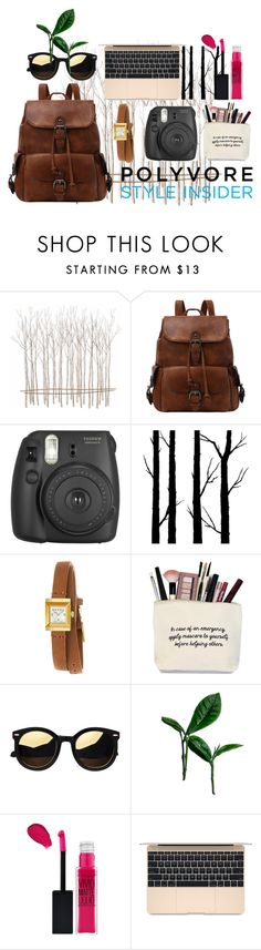 """""""Brown backpack"""" by mysticsjy ❤ liked on Polyvore featuring Fox, Fujifilm, Dot & Bo, Gucci, Maybelline, backpacks, contestentry and PVStyleInsiderContest"""