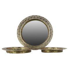 Benzara Pierced Metal Round Tray with Mirror Surface - Set of 3 - BRU-94150