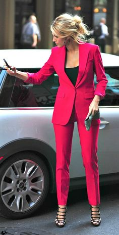 Depending on your work environment this color may be appropriate. The color and the shoes are too flashy for an interview.