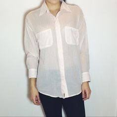 ELIZABETH AND JAMES Pink Striped Button Down Elizabeth and James boyfriend striped button down. -Oversized fit. -100% Cotton. -Lightweight, see through. -In great condition!   NO Trades. Please make all offers through offer button. Elizabeth and James Tops Button Down Shirts