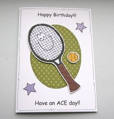 JUNE 2012, Wimbledon - Have an Ace Day - Tennis Racket Birthday Card, by CraftyMushroom, £2.35