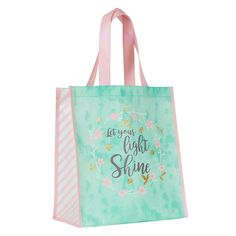 Express your faith with gifts such as this Tote Bag: Let Your Light Shine - Matthew only at Christian Art Gifts. Alternative To Plastic Bags, Christian Art Gifts, Trending Art, Let Your Light Shine, Wreath Watercolor, Bag Packaging, Candy Stripes, Pink And Gold, Shopping Bag