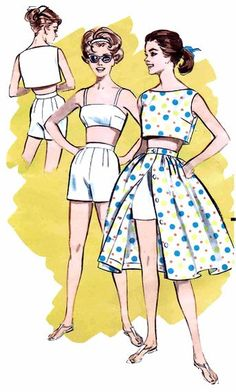 1960's Butterick 9375 Playsuit Bra Top Blouse Short Skirt Womens Vintage Sewing Pattern Size 14 Bust 34. $24.99, via Etsy.