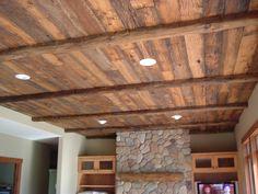 reclaimed wood ceiling  Beautiful!!!