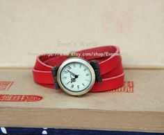Men Woman Red Leather Wristwatch Retro Style by Evanworld on Etsy, $15.99 Beautiful handmade watches, gifts.
