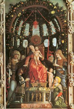 Madonna della Vittoria, by Andrea Mantegna, 1496. Commissioned by Marchioness Isabella d'Este to commemorate her husband, Francesco II Gonzaga's, victory in 1495, at the Battle of Foronovo.