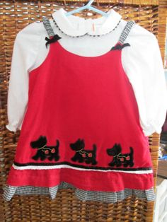 Baby Dress - Little Bitty Brand- Scotty Terrier Dress - Size 12 months