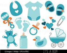Baby Boy, Baby Shower Clipart Clip Art, Blue Baby Clipart, onesie baby stroller pram rattle bib - Commercial & Personal - BUY 2 GET 1 FREE! Baby Shower Cupcakes For Boy, Baby Shower Decorations For Boys, Baby Boy Shower, Baby Shower Clipart, Baby Shower Printables, Party Printables, Clip Art Vintage, Baby Boy Swag, Regalo Baby Shower