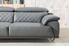 Divani Casa Wolford Modern Grey Leather Sofa Set - Stylish Design Furniture