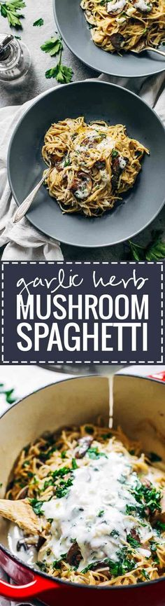 Creamy Garlic Herb Mushroom Spaghetti - this recipe is total comfort food! Simple ingredients, ready in about 30 minutes, vegetarian. ♡ pinchofyum.com #pastafoodrecipes