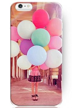 Apple Iphone 6 Plus Hard Protective Case Cover for Teen Girls --Colorful Ballon Girl and Sunset