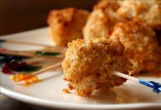 Chicken Garlic Bites-Take 2 pkg chicken tenders, chunked, mix ½ c evoo, 4 minced cloves garlic, ¼ tsp pepper. Cover Marinate 30 min. Preheat oven 475. In shallow dish mix ½ panko bread crumbs, ¼ tsp cayenne pepper. Disregard marinated, place chunks of chicken separately in bread crumbs and place single layer on cookie sheet. Bake 10 min til brown.
