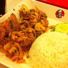 "My happy meal ""Fried chicken spicy with rice"""