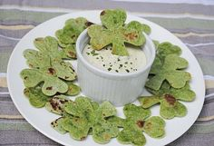 Shamrock chips! Made with spinach tortillas and a shamrock cookie cutter.