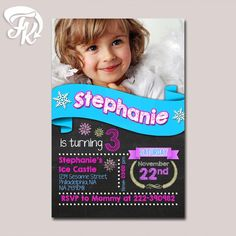 Personalized Photo Elsa and Anna Frozen Birthday Party Card Digital Invitation…