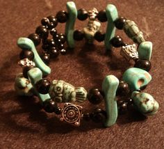 Turquoise bracelet, owl jewelry