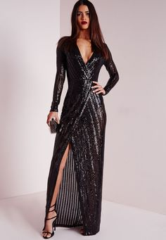 Hot damn girl, you're goina raise some temps in this one. This Lavish high end sequin maxi dress from our PREMIUM range is an absolute wardrobe lust have this season. With high quality black mesh fabric and contrast black sequin stripes t. Elegant Dresses, Nice Dresses, Casual Dresses, Black Sequin Dress, Sequin Maxi, Maxi Wrap Dress, Dress Up, Modest Fashion, Fashion Dresses