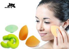 Beauty Sponge Set - 2 Makeup Blender Sponges, 2 beauty Sponge holder / Drying Stands. Free Bonus: 1 Facial Cleansing Massage brush pad by MOMO Q -- Click image for more details.