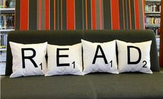 This combines three things that I really like ~ reading, Scrabble and pillows.