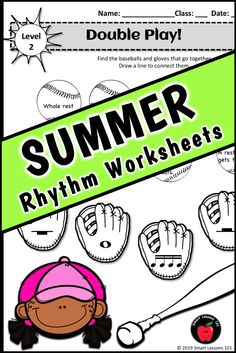 Distance Learning SUMMER Music Worksheets Rhythm Activities End of the Year Music Sub Plans, Music Lesson Plans, Music Lessons, Music Activities For Kids, Music For Kids, Music Theory Games, Rhythm Games, Elementary Music, Elementary Education