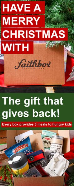 This Christmas, give the gift of Faithbox and make an impact!   Faithbox delivers great products from companies that have a positive impact on the world and a beautiful daily devotional filled with scripture reflections, quotes, and challenges to keep you centered in Christ! For each box we ship, we provide 3 meals to hungry kids, too!   Use promo code CHRISTMAS15 for 10% through 1/1/2016! .