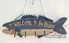 "Vintage Wooden Fish Sign handmade ""Welcome to the Beach"" Coastal Cottage Decor (wood & metal with hooks) $149"
