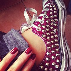 Studded Converse Personalized Converse Burgundy Low by CUSTOMDUO