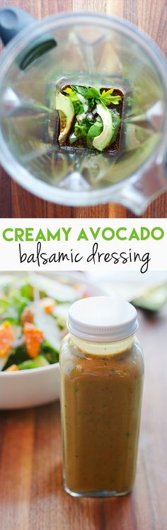 Avocado Balsamic Dressing // Take your balsamic vinaigrette to the next level by using avocado to replace some of the oil. The result is a rich, flavorful and creamy dressing you'll want to drizzle on everything. via @eatingbirdfood