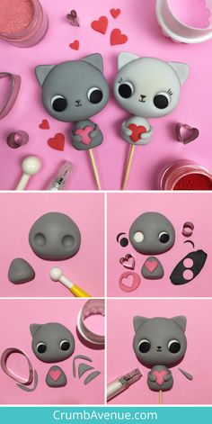 Kitties Cake Topper Tutorial You are purrfect! - Kitties Cake Topper Tutorial You are purrfect!] / Valentine's Day, fondant, cat, cak - Easy Polymer Clay, Polymer Clay Animals, Polymer Clay Projects, Polymer Clay Creations, Polymer Clay Cupcake, Fondant Cupcakes, Fondant Cake Toppers, Fondant Cat, Cupcake Toppers