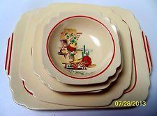 Homer Laughlin Mexicana Kitchen Kraft Bowl, Saucers, Plates.