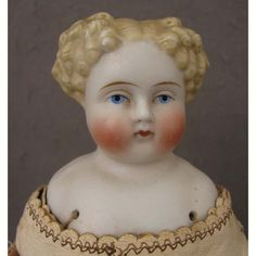"12.5"" Antique ABG Parian Bisque Doll w/ Deep Parted Hair from virtu-doll on Ruby Lane"