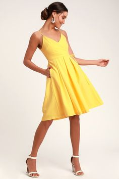 8694426947e4 Thinking About You Yellow Pleated Faux Wrap Midi Skater Dress Midi Skater  Dress