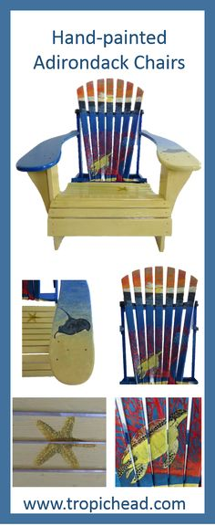 Hand-painted Adirondack Chair - Coral Reef Float away on this beautiful coral reef in your own tropical paradise!   Solid wood, screwed (not stapled)  hand painted and sealed with three coats of polyurethane for  long lasting durability.  Check out more Adirondack chairs and other custom painted outdoor furniture on our website.  Dimensions 33 W x 38 D x 35 H