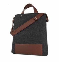 db82185946c90 Umhängetaschen - Filz Tasche GRAFIT MAXI CZOKO Purol Design - ein  Designerstück von Torebki-Filcowe