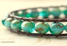 New Blue Pacific Leather Wrap Bracelet Gift for by CascadiaStudios, $18.00