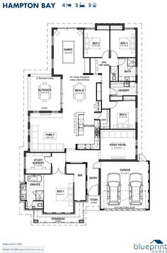 Ex Display Home Banjup - The Hampton Bay The Hampton Bay, 4 bedroom home design, Perth floorplans Master Bedroom Plans, 4 Bedroom House Plans, New House Plans, Dream House Plans, House Floor Plans, Hamptons House, The Hamptons, Courtyard House Plans, Home Design Floor Plans