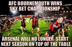 Congratulations to AFC Bournemouth for winning the Sky Bet Championship. Football Troll, Football Jokes, Afc Bournemouth, Football Photos, Congratulations, Sky, Heaven, Soccer Jokes, Heavens