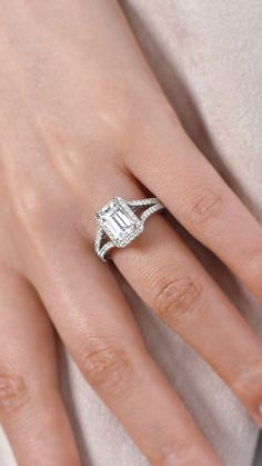 Gabriel NY - Preferred Fine Jewelry and Bridal Brand.Beautiful and unique 18k White Gold Emerald Cut Halo Engagement Ring. Find your nearest retailer-> https://www.gabrielny.com/storelocator