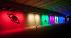 exponential view: colorful tunnel painting by geert mul - designboom   architecture