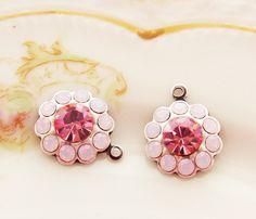 Swarovski Pink & Rose Opal Rhinestone Round Flower Drops 1 Ring Silver Ox Charm Settings 13mm - 2 by alyssabethsvintage on Etsy