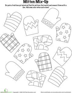 Winter Kindergarten Holiday Worksheets: Mitten Mix and Match