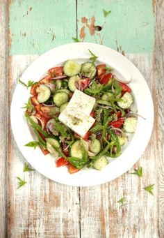 Gorgeous Greek salad - The classic way with juicy tomatoes, olives and crumbly feta