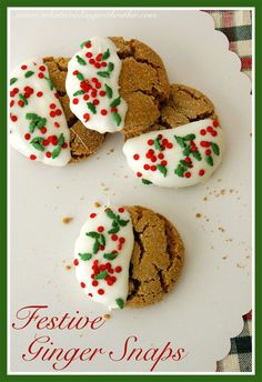 Festive Ginger Snap Cookies are a fun little twist on a traditional Christmas Cookie! Fun to make with kids for Santa on Christmas Eve! by www.cookingwithruthie.com #recipes #holidays #cookies