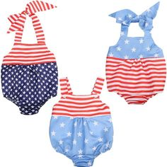 >> Click to Buy << New Style Fashion Newborn Kids Baby Girl Clothes Summer Sleeveless Romper Jumpsuit USA Flag Outfit Baby Clothing #Affiliate