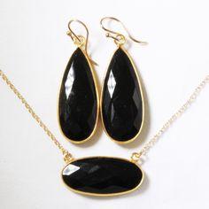 Black Onyx 2-pc SET Necklace & Earrings 14k Gold Bezel Genuine Onyx Earrings Onyx Necklace Unique Stone Jewelry BZ-SET-152-Black Onyx/g by elizabethlydonstudio on Etsy