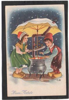 Cartolina Buon Natale BAMBINI FANNO CALDARROSTE Illustratore Cillo YA810
