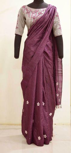 Burgundy pure tussar silk sari with flowers and leaves finished by hand embroide. Tussar Silk Saree, Cotton Saree, Sari Silk, Kerala Saree Blouse Designs, Silk Sarees Online, Indian Attire, Work Blouse, Indian Sarees, Clothes For Women